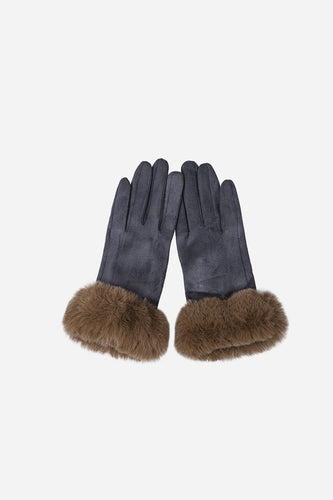Grey & Taupe Faux Fur Gloves