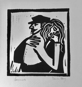 """Couple Hugging"" Lino Cut Framed Print"
