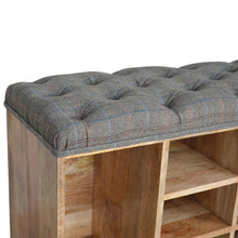 Load image into Gallery viewer, Tweed Shoe Storage Bench - 8 Compartments