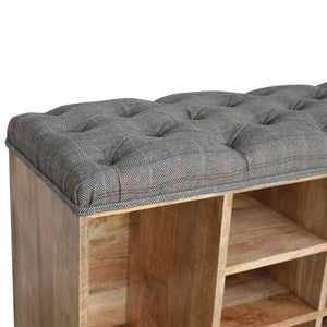 Tweed Shoe Storage Bench - 8 Compartments