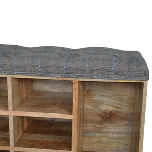 Multi Tweed Shoe Cabinet with 6 Shelves