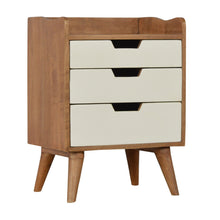 Load image into Gallery viewer, Bedside with 3 White Hand Painted Cut-Out Drawers