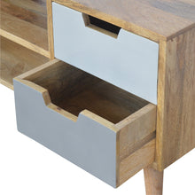 Load image into Gallery viewer, Media Unit with 4 Grey Hand-painted Drawers and 2 Open Slots