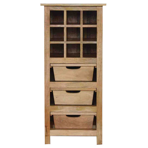 9 Wine Bottle Cabinet with 3 Drawers