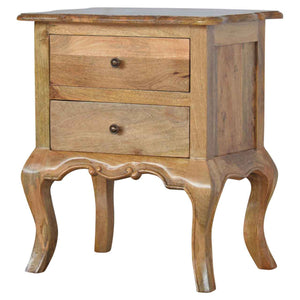 French Style Bedside Table Petite - 2 Drawers