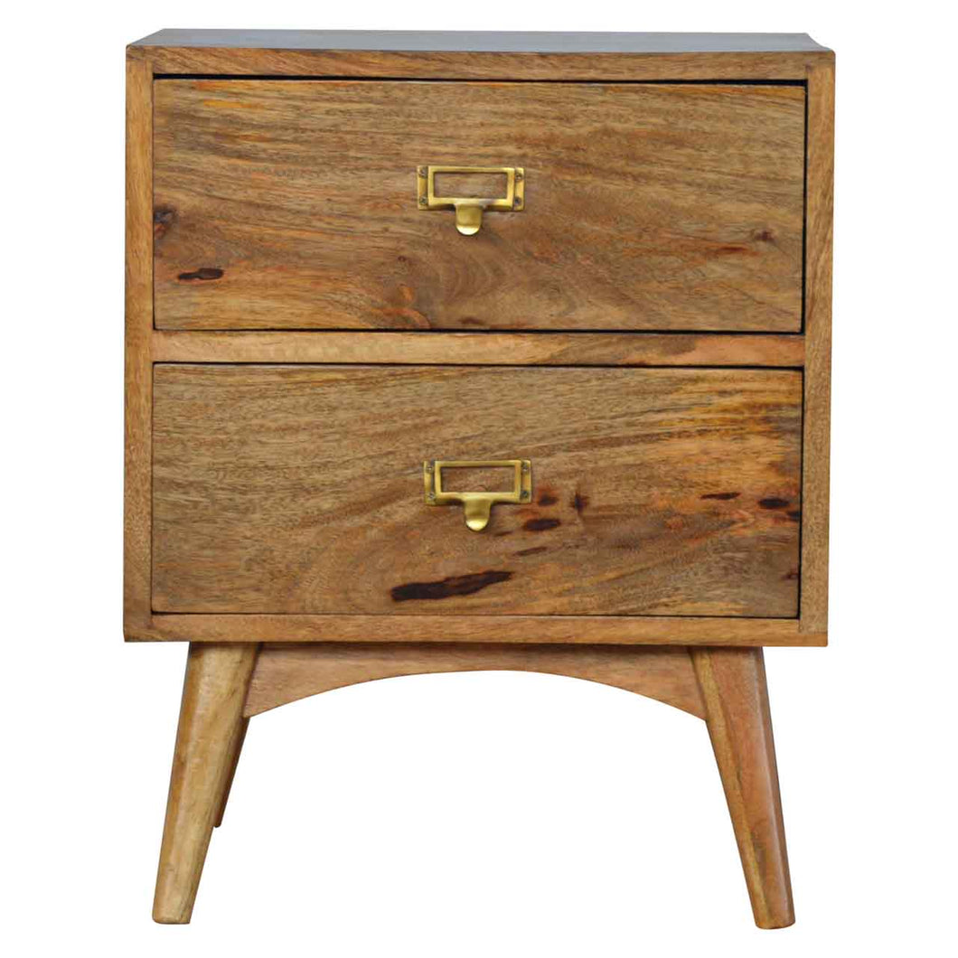 Brass Metal Slot Bedside Table -2 Drawer