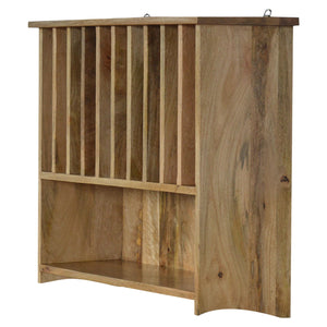 Wall Mounted Solid Wood Plate Rack with Shelf