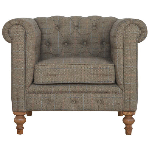 Tweed Chesterfield - Single Seater Armchair
