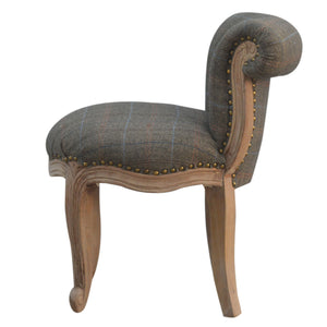Petite French Chair Upholstered In Multi Tweed