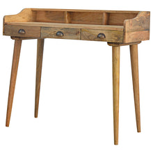 Load image into Gallery viewer, Solid Wood Nordic Writing Desk with 3 Drawers & Gallery Back