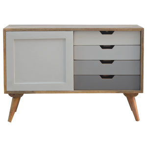 Nordic Grey Sliding Cabinet - 4 Drawers