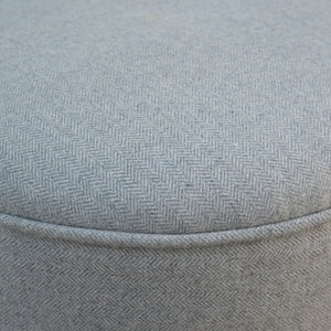 Round Nordic Styled Footstool in Grey Tweed