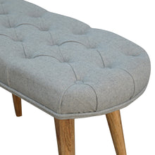 Load image into Gallery viewer, Upholstered Nordic Style Bench with Deep Buttoned Grey Tweed Top