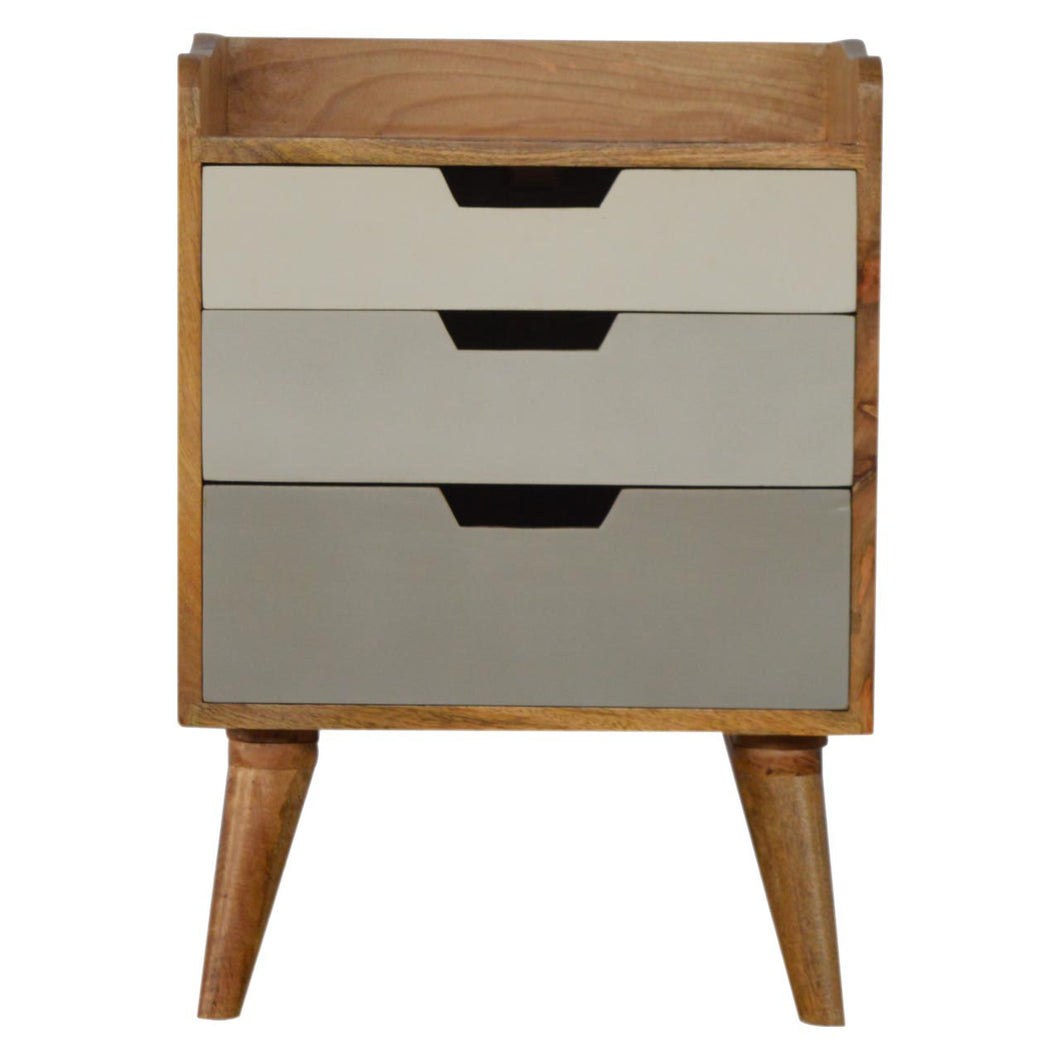 Nordic Grey Bedside Table - 3 Drawers