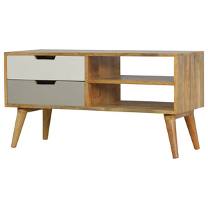 Grey Painted Nordic Style Media Unit with 2 Drawers