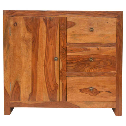 Sheesham Cabinet - 3 Drawers, 2 Shelves