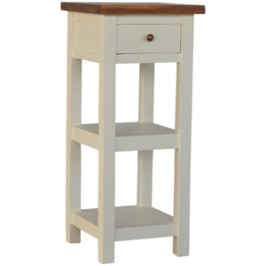 Country Two Tone Telephone Table - 1 Drawer, 2 Shelves