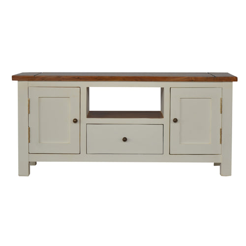 Country Two Tone Media Unit - 1 Drawer, 2 Cupboards
