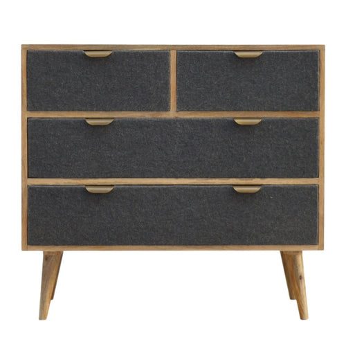 Dark Grey Tweed Chest of Drawers - 4 Drawers