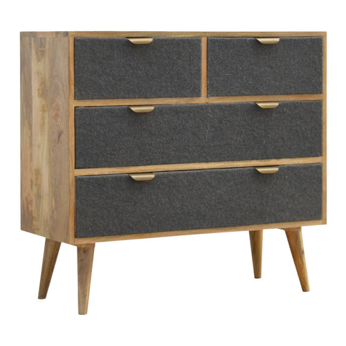 2 Over 2 Chest with Grey Tweed Fabric Drawer Fronts