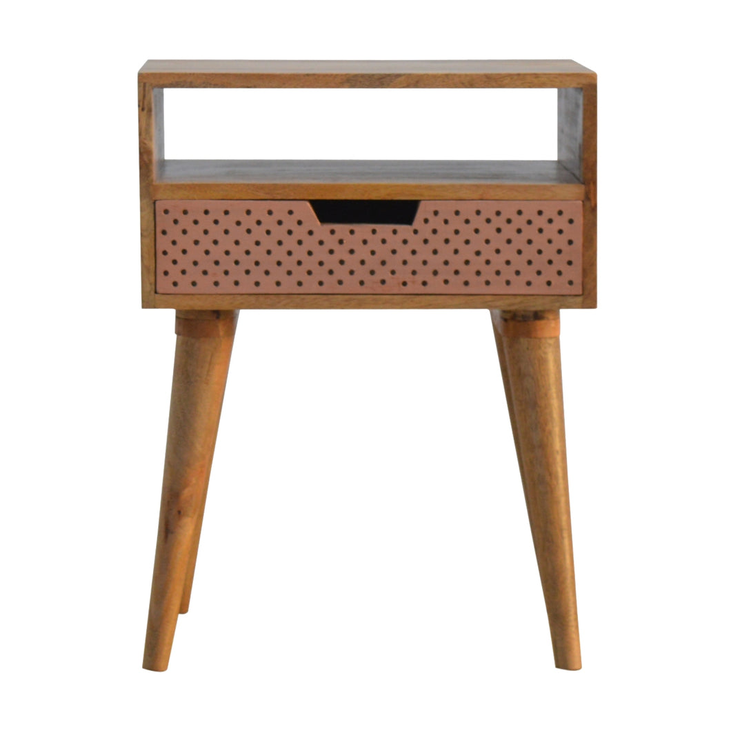 Perforated Copper Bedside Table - 1 Drawer, 1 Shelve