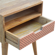 Load image into Gallery viewer, Perforated Copper Bedside Table - 1 Drawer, 1 Shelve