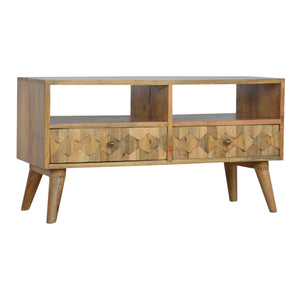 2 Drawer Media Unit with Pineapple Carved Drawer Fronts