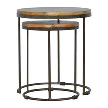 Load image into Gallery viewer, Iron base Round Nesting Tables - Set of 2