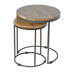 Iron base Round Nesting Tables - Set of 2