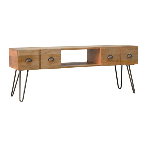 Folded Legs Media Unit - 4 Drawers, 1 Shelf
