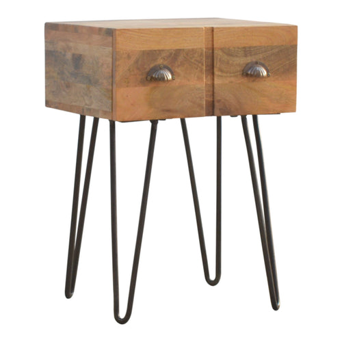 Folded Legs Bedside Table - 2 Drawers