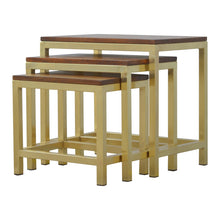 Load image into Gallery viewer, Stool set of 3 With Gold Base