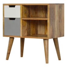 Load image into Gallery viewer, Nordic Style Grey Hand Painted Open Cabinet with 2 Drawers
