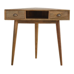 Corner Writing Desk with 2 Drawers And Open Slot