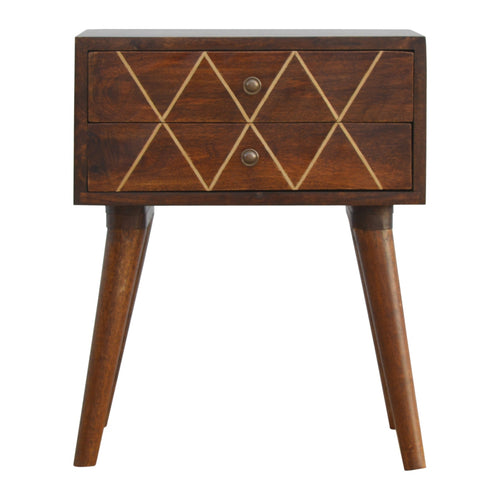 Brass Inlay Bedside Table - 2 Drawers