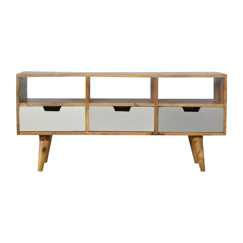 Nordic Grey Media Unit - 3 Drawers, 3 Shelves