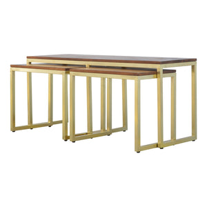 Nesting Bench and Tables In Gold Finish