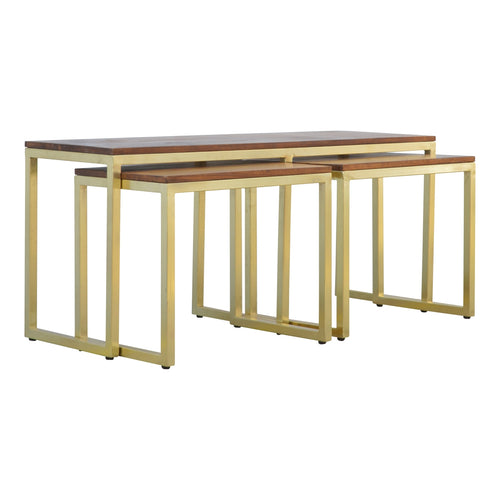 Gold Iron Base Nesting Tables - Set of 3