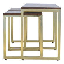 Load image into Gallery viewer, Nesting Bench and Tables In Gold Finish