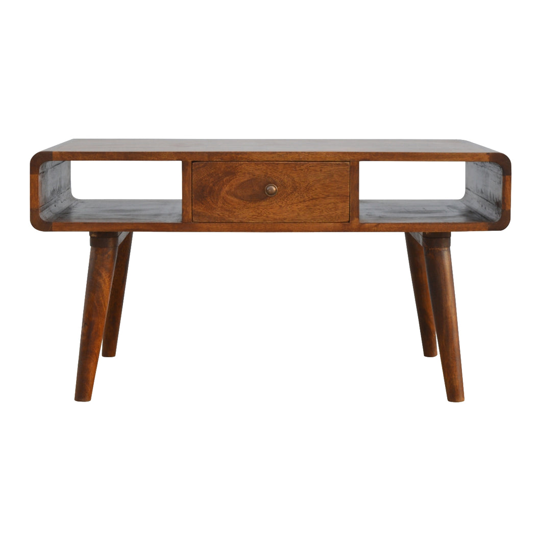 Curved Chestnut Coffee Table - 1 Drawer