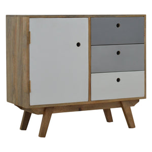 Two Tone Hand Painted Hole Cut-out Cabinet