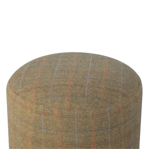 Cylindrical Multi Tweed Footstool