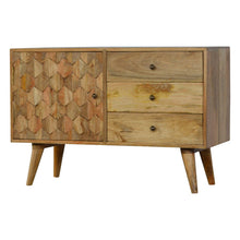Load image into Gallery viewer, 3 Drawer Solid Wood Cabinet with Pineapple Carved Door Front