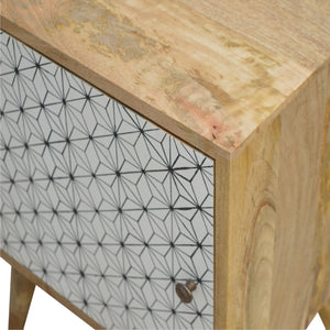 Geometric Screen-printed Door Bedside