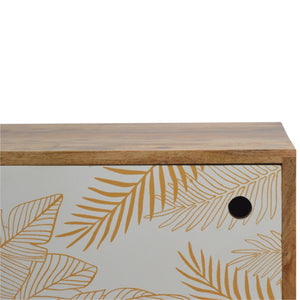 Leaf Screen-printed Door Front Bedside with Cut-out Slot