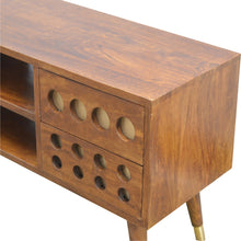 Load image into Gallery viewer, 4 Drawer Chestnut Nordic Style Media Unit with Brass Hole Inlay and 2 Open Slots