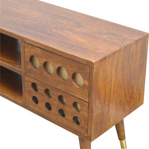 4 Drawer Chestnut Nordic Style Media Unit with Brass Hole Inlay and 2 Open Slots