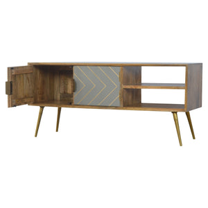 Open Nordic Style Media Unit with 2 Cement Brass Inlay Doors