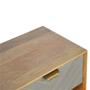 Sleek Brass Inlay Bedside Table - 1 Drawer