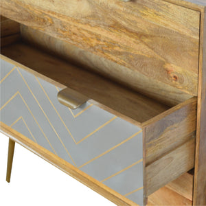 3 Drawer Nordic Style Sleek Cement Bedside with Brass Inlay